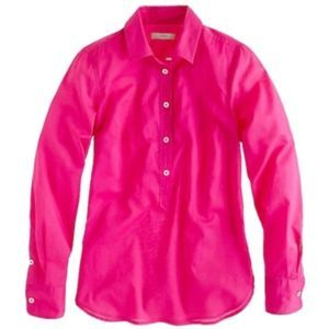 J.Crew Hot Pink Indian Voile Popover Blouse